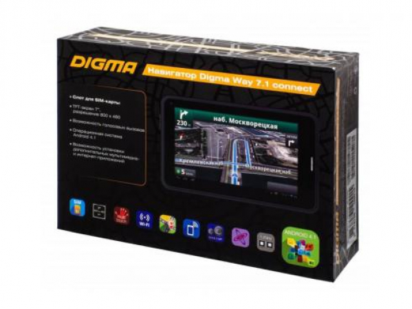 "Навигатор Digma Way 7.1 connect 7"" 800x480 8Gb microSDHC Bluetooth черный 767591"