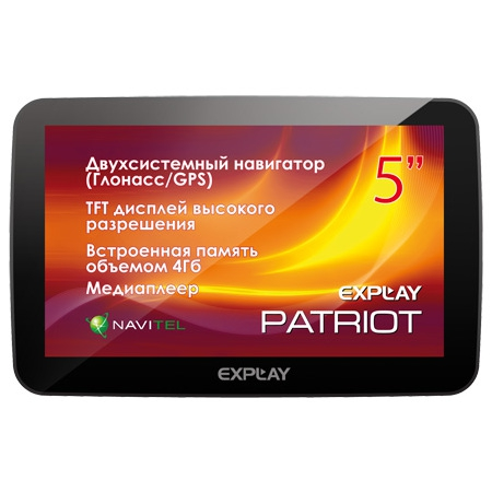 "Навигатор Explay Patriot 5"" 480x272 4Gb microSD Bluetooth Navitel черный"