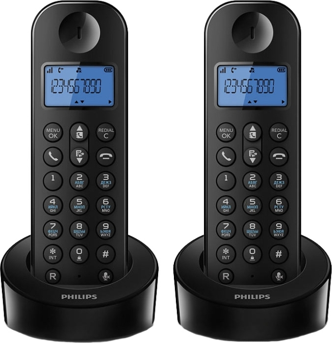 Радиотелефон Dect Philips D1202B/51 DUO черный