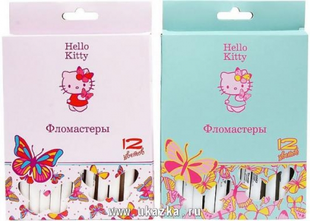 Набор фломастеров ACTION! Hello Kitty, 12 цв., картон с е/п, 2 диз.